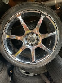 Chrome rims  [TL_HIDDEN]  tires and it fits 4 lug universal fit most cars