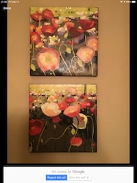 Pair of Novak flower canvases Burlington, L7L 6K8