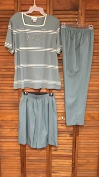 Alfred Dunner 3pc green culotte & pants set. Culotte & pants size 14, top is XLG. Winter Haven, 33880