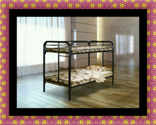 Twin bunk bed frame with mattress