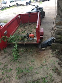 Red and black utility trailer