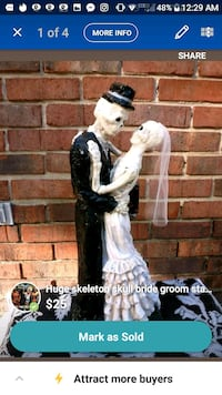 Big new skull skeleton bride groom figure Tullahoma