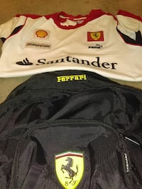 black Ferrari backpack and white and red Santander Puma jersey shirt Austin, 78758