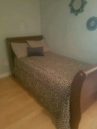 brown wooden bed frame with white mattress Toronto, M1P 5C5