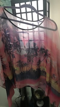 Pink, black, and yellow palm tree-print blouse Odessa, 79762