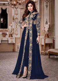 Navy and gold embroidered pant style anarkali  Toronto, M5E