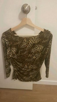 women's brown and black leopard print blouse 3743 km