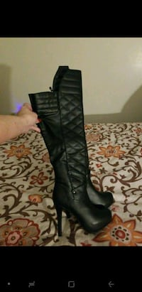 High heels real leather boots