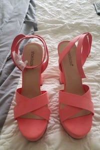 pair of red open toe ankle strap heels Newark, 19713