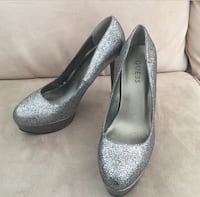 Guess Silver Glitter Sparkle Stiletto High Heel 6.5 Los Angeles, 90034