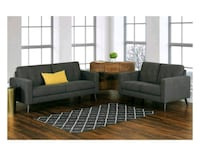 Grey Fabric Sofa and Loveseat