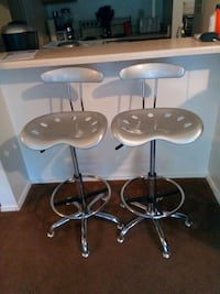 two stainless steel base white leather padded bar stools San Antonio, 78209