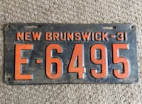 1931 Antique New Brunswick  Provincial Automobile Licence Plate - 87 Years Old Calgary, T2R 0S8