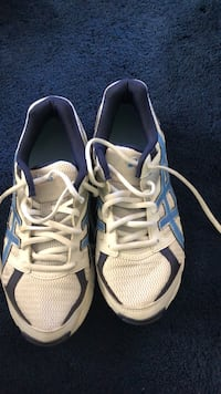 pair of white-and-blue Adidas running shoes Adelanto, 92301