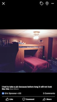 Twin bunk beds with desk and lots of storage. Purchased from Jordan's furniture  Rochester, 02770