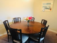 Oval brown wooden dining table with chairs set Ashburn, 20147