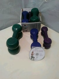 assorted color plastic workout weights with cd Johnston, 02919