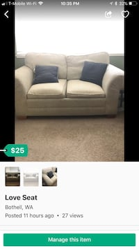 White fabric 3-seat sofa Bothell, 98021