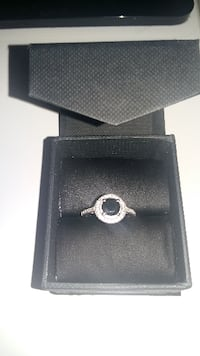Sterling silver engagement ring diamond halo ring with a big black onyx stone size 5  Brampton
