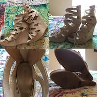 Women's tie up wedges cream colored size 8 Charlotte, 28210