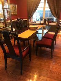 rectangular glass-top table with chairs East Windsor