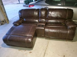Brown Leather Media Couch