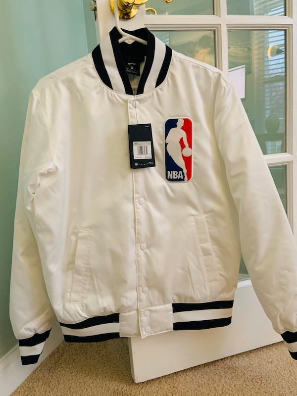 Nike Sb Mens Nba Snap Front Satin Bomber Jacket White/black Ah3392 0