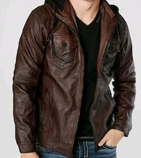 Buckle faux leather jacket (Brown)