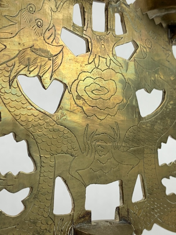 Vintage Brass 5 Arm Dragon and Etched Flower Candelarias (2) 70c0846b-4fca-4912-8e0d-9e0aa2f64574