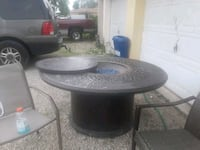 Propane fire pit with 6 chairs by propane tanks Lehigh Acres, 33973