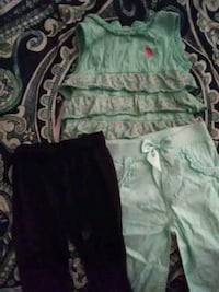 Size 12 months girls polo shirt and leggings Manteca
