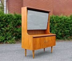 60's Vintage Teak Vanity With Tilted ( Any Angle)