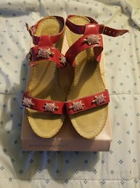 red-and-brown open-toe ankle-strap sandals with box
