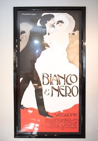 Bianco and Nero print by M. Dudovich with Black Lacquer Frame Sicklerville, 08081
