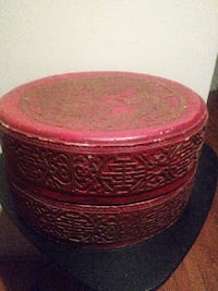 Antique Chinese Wood Red Asian Box PIKESVILLE