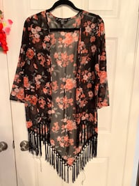 black and red floral long-sleeved dress Caledon, L7K 2P6