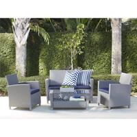 4 Piece Malmo Resin Wicker Patio Deep Seating Conversation Set,  Grey | SKU# 49209 Santa Fe Springs