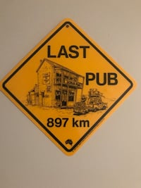 """Bar sign about 8"""" square made of plastic"""