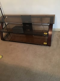 brown wooden 3-tier glass top tv stand Dallas, 75206
