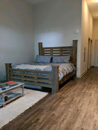 King size bed frame, head board and foot board
