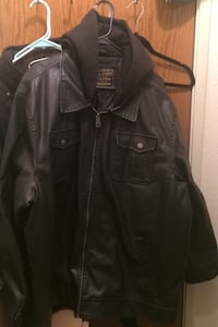 Arizona faux leather with attached black hood