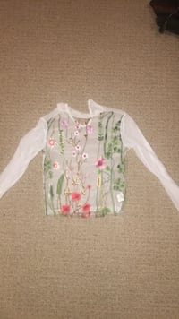 white and green floral long-sleeved shirt North Saanich, V8L 5T2