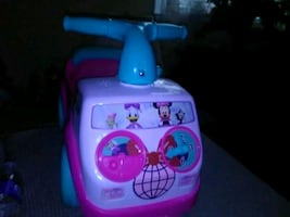 pink and blue/green Minnie mouse  ride on toy car