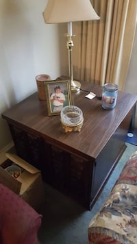 Solid wood end table.
