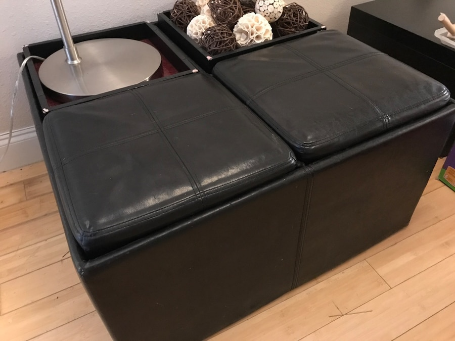 Letgo black leather ottoman table in highland park tx for Table 52 parking