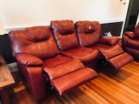 Red leather 3-seat recliner sofa Marlborough, 01752