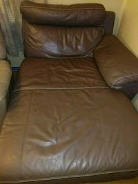 brown leather sofa chair with ottoman Jennings, 70546