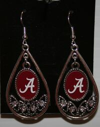 BRAND NEW Silver with Clear Stones and Alabama Medalion Earrings Yuma