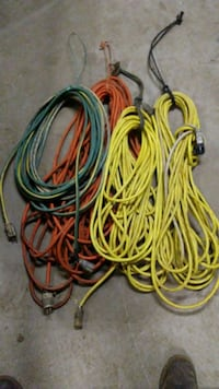 yellow, orange and green electric cords