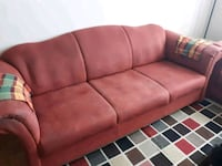 red suede 3-seat sofa Mississauga, L5B